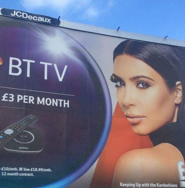 <p>Kim fell victim to a Photoshop fail earlier this year. The reality star appeared in an advertisement for BT television alongside James McAvoy but something was amiss.<br><br>Upon closer inspection, Kim was only given false eyelashes on one eye. <em>[Photo: BT]</em> </p>
