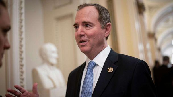 PHOTO: In this Tuesday, March 3, 2020, file photo, House Intelligence Committee Chairman Adam Schiff, D-Calif., talks to reporters as lawmakers work to extend government surveillance powers that are expiring soon, on Capitol Hill in Washington. (J. Scott Applewhite/AP, FILE)