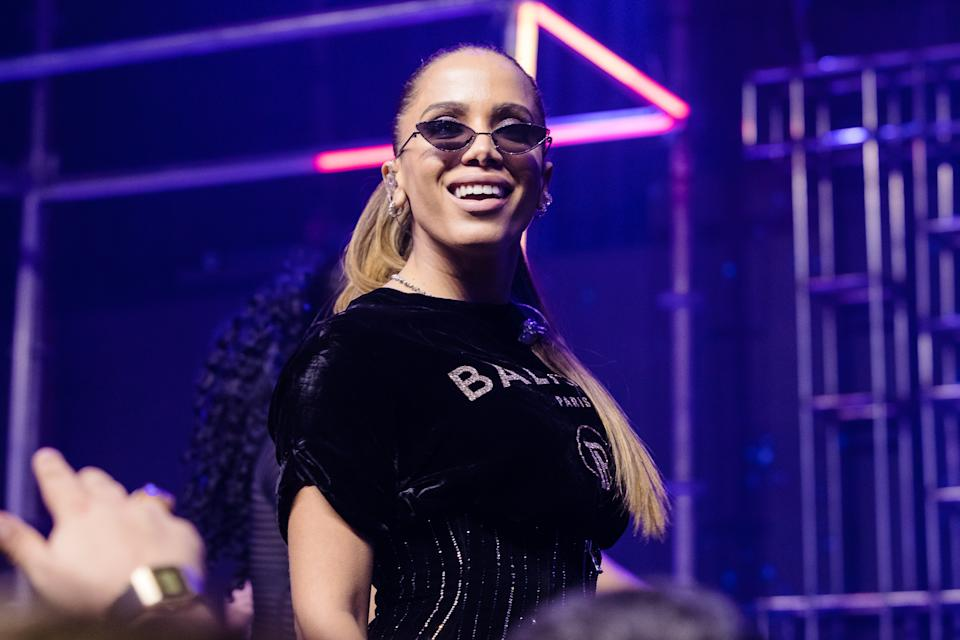 SAO PAULO, BRAZIL - AUGUST 26: Anitta performs live on stage at Cidade Jardim Shopping on August 26, 2019 in Sao Paulo, Brazil.(Photo by Mauricio Santana/Getty Images)