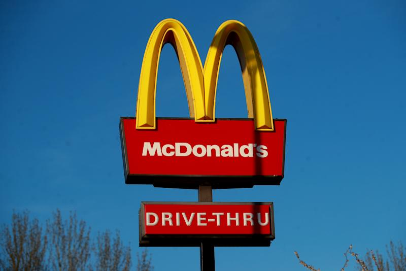 A McDonald's logo at a drive through at Blackwater Shopping Centre, Farnborough as it was announced that all of their restaurant locations in the UK and Ireland will close by 7pm on Monday to protect the safety of their employees and customers from coronavirus.