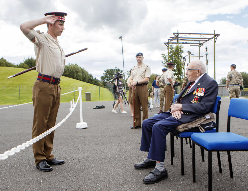 Captain Sir Tom Moore during a visit to the Army Foundation College in Harrogate, North Yorkshire as part of his new role as Honorary Colonel of the Northern military training establishment. (Photo by Danny Lawson/PA Images via Getty Images)