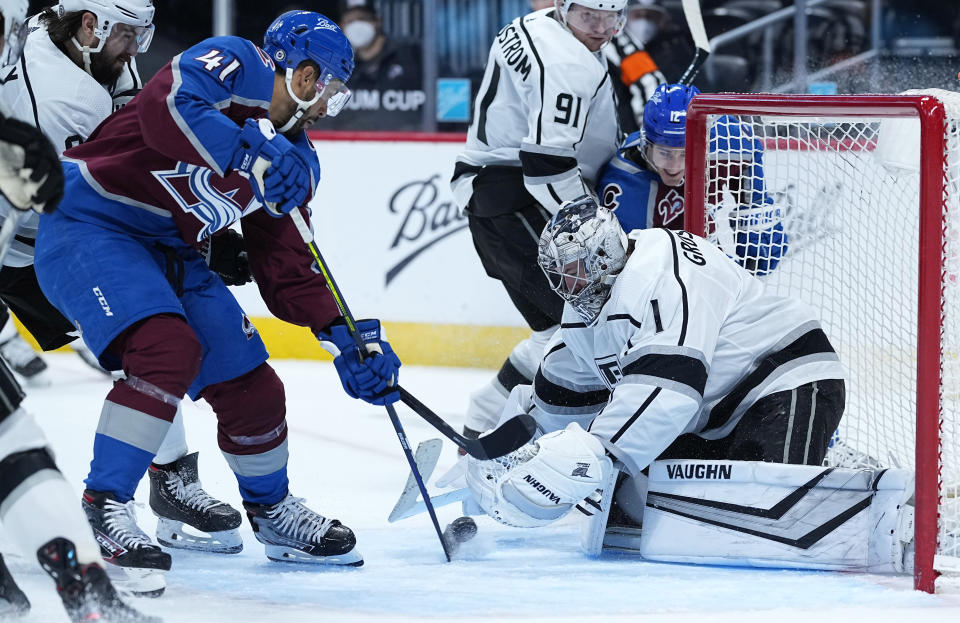 Colorado Avalanche center Pierre-Edouard Bellemare (41) scores a goal against Los Angeles Kings goaltender Troy Grosenick (1) during the second period of an NHL hockey game Thursday, May, 13, 2021, in Denver. (AP Photo/Jack Dempsey)