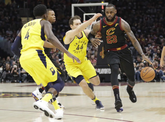 LeBron James responded to the Cavs' stunning Game 1 loss to the Pacers by scoring Cleveland's first 16 points in Game 2. (AP)