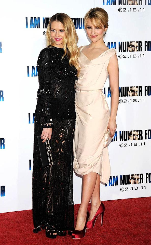 "Alex's lady love and ""I Am Number Four"" co-star, ""Glee's"" Dianna Agron, wore a delicate, pale pink Vivienne Weestwood dress and Brian Atwood pumps, while Teresa Palmer (Number Six) donned an embellished Pucci dress and platform Christian Louboutin sandals. Jeffrey Mayer/<a href=""http://www.wireimage.com"" target=""new"">WireImage.com</a> - February 9, 2011"