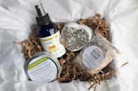 """<p><strong>MelakuAromatherapy</strong></p><p>etsy.com</p><p><strong>$32.00</strong></p><p><a href=""""https://go.redirectingat.com?id=74968X1596630&url=https%3A%2F%2Fwww.etsy.com%2Flisting%2F490404788%2Flavender-spa-gift-spa-kit-gift-set-bath&sref=https%3A%2F%2Fwww.womansday.com%2Frelationships%2Ffamily-friends%2Fg35756207%2Fmothers-day-gift-baskets%2F"""" rel=""""nofollow noopener"""" target=""""_blank"""" data-ylk=""""slk:SHOP NOW"""" class=""""link rapid-noclick-resp"""">SHOP NOW</a></p><p>This soothing set includes lavender lemon room spray, bath soak, bath fizz, and a healing salve for instantly good vibes. </p>"""