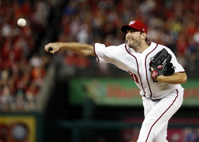 Max Scherzer had a rough inning in Game 5 of the NLDS. (AP Photo/Alex Brandon)