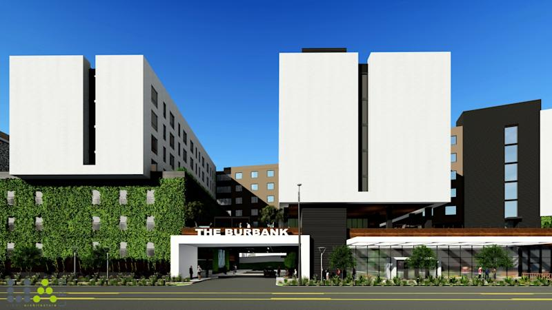Rendering of the planned hotel entrance to La Terra Burbank, a $375-million complex approved for construction in Burbank.