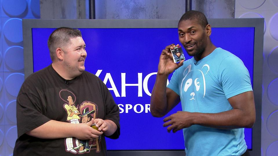 Metta World Peace opens Skybox basketball cards and Yo! MTV Raps cards. (Yahoo Sports)