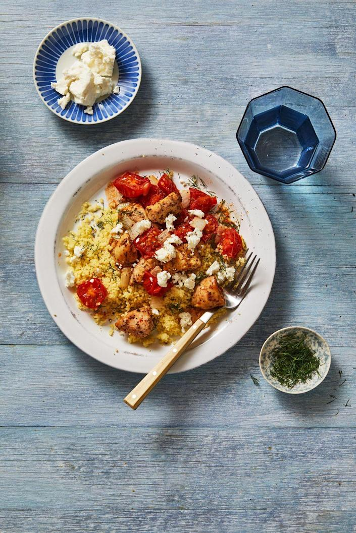 """<p>Couscous is rice's lighter, fluffier cousin that pairs perfectly with oregano chicken, but you can also use brown rice instead.</p><p><em><a href=""""https://www.goodhousekeeping.com/food-recipes/a34221194/mediterranean-chicken-bowls-recipe/"""" rel=""""nofollow noopener"""" target=""""_blank"""" data-ylk=""""slk:Get the recipe for Mediterranean Chicken Bowls »"""" class=""""link rapid-noclick-resp"""">Get the recipe for Mediterranean Chicken Bowls »</a></em></p>"""