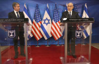 Israeli Prime Minister Benjamin Netanyahu, right, and U.S. Secretary of State Anthony Blinken hold a joint press conference in Jerusalem on Tuesday, May 25, 2021, days after an Egypt-brokered truce halted fighting between the Jewish state and the Gaza Strip's rulers Hamas. (Menahem Kahana/Pool Photo via AP)