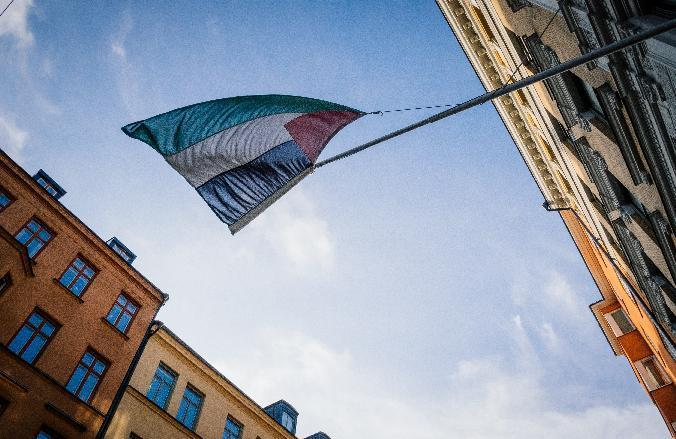 A Palestinian flag flies outside the Palestinian Representative Office in Stockholm, on October 30, 2014 (AFP Photo/Jonathan Nackstrand)