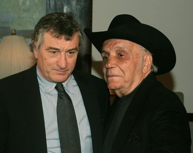 "Boxer Jake LaMotta with actor Robert De Niro at a 2005 screening to celebrate the 25th anniversary of the film ""Raging Bull"" based on the life of the former middleweight champion"