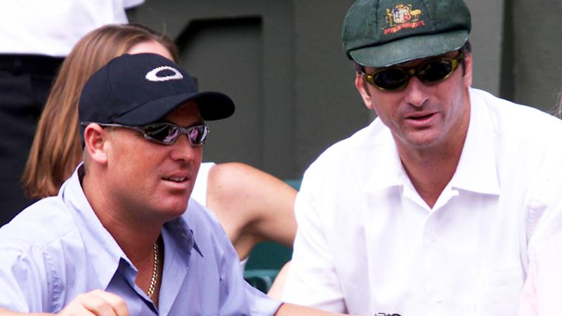Shane Warne, pictured here refusing to wear the Baggy Green with Steve Waugh at the 2001 Wimbledon final.