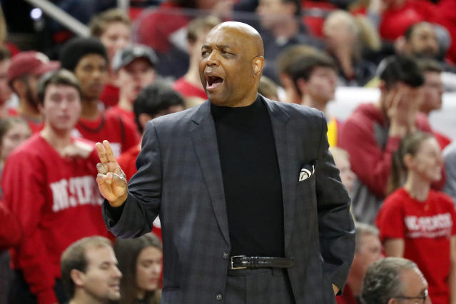 Florida State head coach Leonard Hamilton protests a call during the second half of an NCAA college basketball game against North Carolina State in Raleigh, N.C., Saturday, Feb. 22, 2020. (AP Photo/Karl B DeBlaker)
