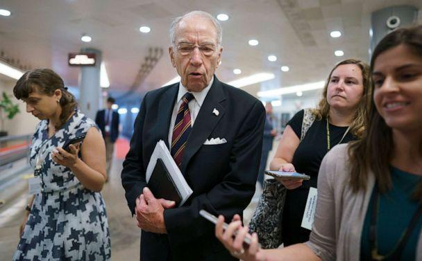 PHOTO: Sen. Chuck Grassley, R-Iowa, the ranking member of the Senate Judiciary Committee, speaks to reporters as senators arrive for votes at the Capitol in Washington, D.C., July 13, 2021. (J. Scott Applewhite/AP, FILE)