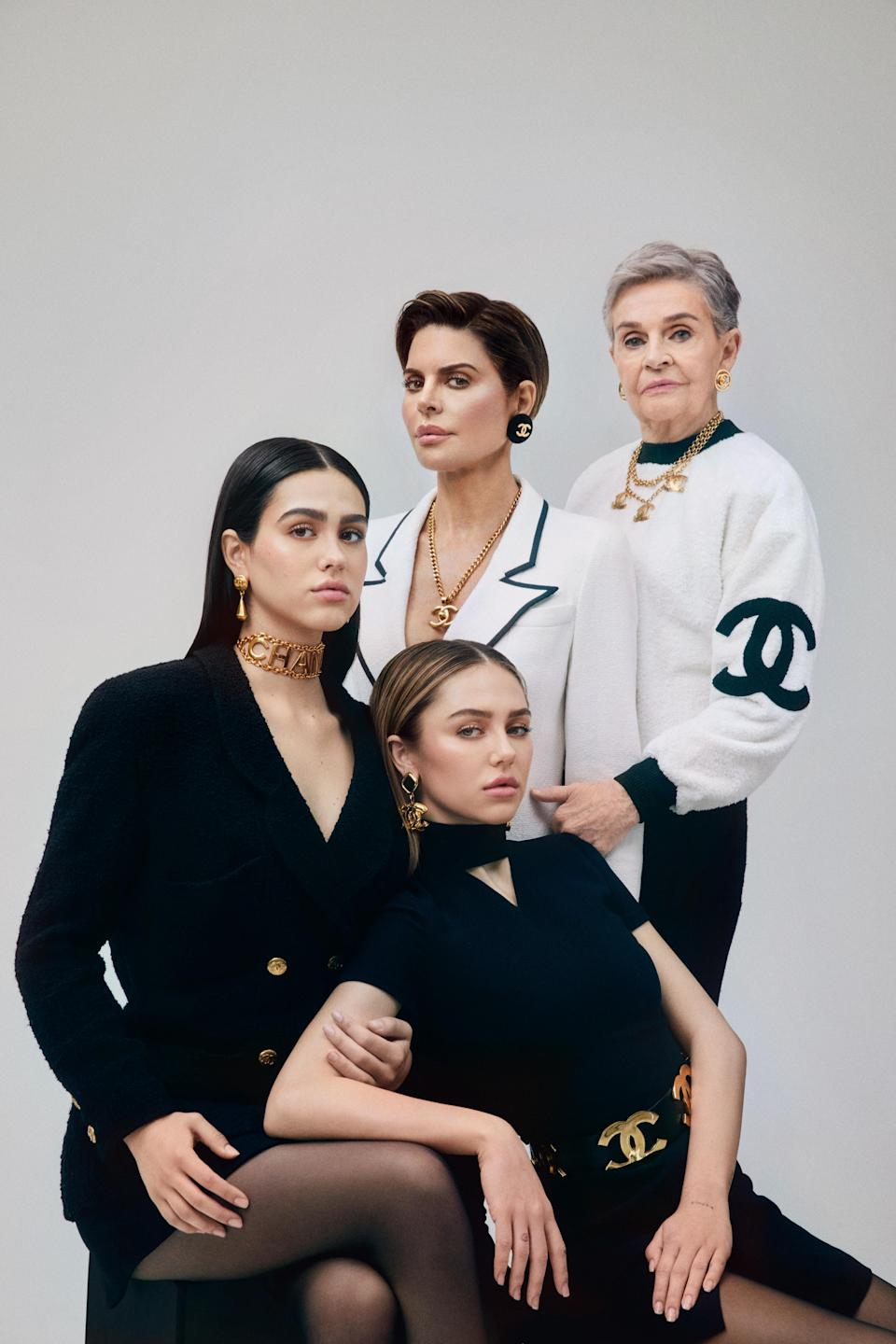 Rinna posed with daughters, Delilah Belle Hamlin, 20, and Amelia Gray Hamlin, 17, as well as her 90-year-old mother, Lois. (Credit: Olivia Malone)