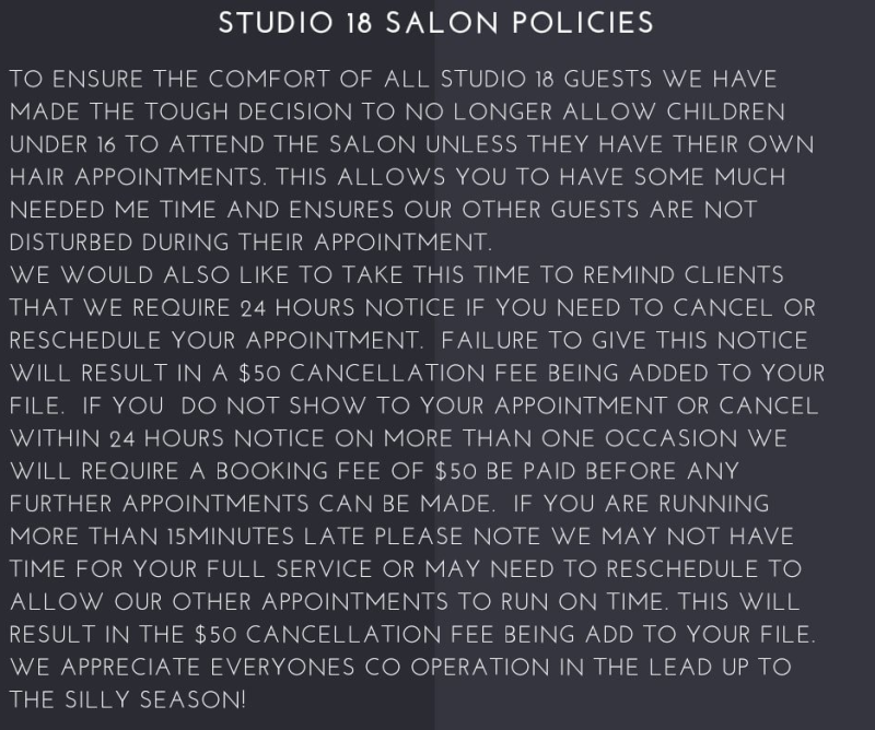 The policy was announced on Monday and stated children would no longer be allowed inside the salon. Source: Facebook/Studio 18