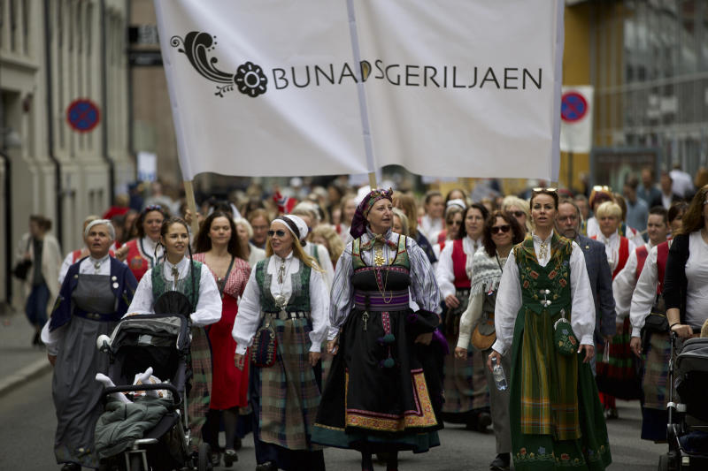 International Workers' Day in Oslo saw thousands of people participating in the day marching through the streets of Oslo. Women marching dressed in traditional Norwegian dresses (Bunads). Olso, Norway, 1 May 2019 (Photo by Noe Falk Nielsen/NurPhoto via Getty Images)