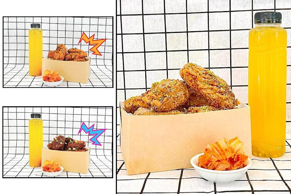 Gai Ci Pong combos (clockwise from top left) available in Spicy Hot, Lime Pepper and Sweet Pepper flavours.