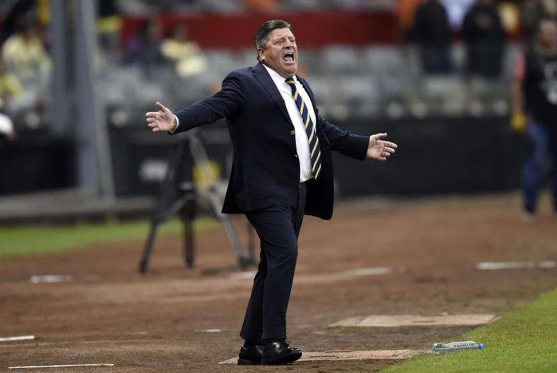 America's coach Miguel Herrera gestures during the CONCACAF Champions League football match between Comunicaciones and America at Azteca Stadium on February 26, 2020 in Mexico City, Mexico. (Photo by ALFREDO ESTRELLA / AFP) (Photo by ALFREDO ESTRELLA/AFP via Getty Images)