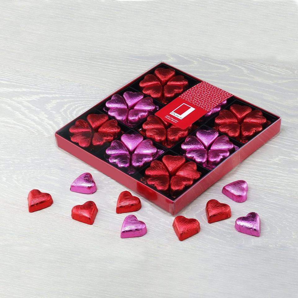 "<p>Farhi's decadent selection of chocolate hearts are as luxurious as they are delicious, making for a quintessentially indulgent Valentine's Day gift.</p><p>£25, Farhi</p><p><a class=""link rapid-noclick-resp"" href=""https://www.farhi.co.uk/products/milk-chocolate-praline-hearts-in-a-gift-box?variant=26776270307428"" rel=""nofollow noopener"" target=""_blank"" data-ylk=""slk:SHOP NOW"">SHOP NOW</a></p>"