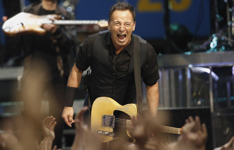 In this April 26, 2012 photo, musician Bruce Springsteen performs with the E Street Band during a concert in Los Angeles. Australia's Acting Prime Minister Wayne Swan has revealed that U.S. rock star Springsteen has long been his political inspiration with lyrics warning Australians against following the U.S. road toward widening economic inequality. (AP Photo/Matt Sayles)