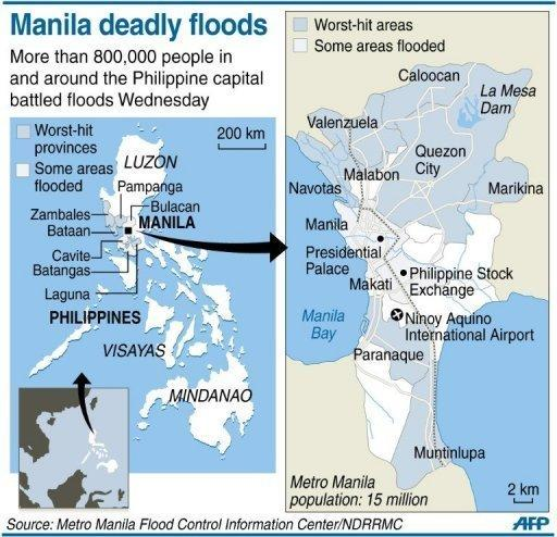 Graphic map locating areas in and around the Philippine capital Manila that have been hit by worst flooding. More than a million people in and around the Philippine capital are battling deadly floods as more monsoon rain fell, with neck-deep waters trapping both slum dwellers and the wealthy on rooftops