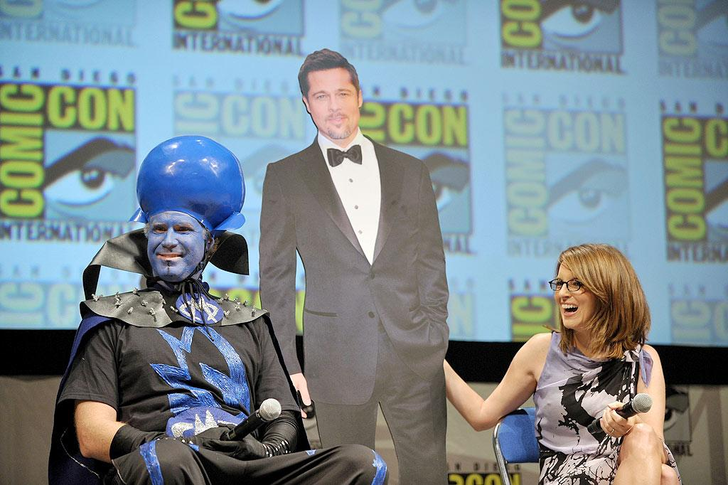 "Though Brad couldn't make it in person to the ""Megamind"" panel at Comic-Con Thursday, Will Ferrell and Tina Fey brought along the next best thing ... 2D Pitt! ""I'm pretty sure we're going to meet at some point,"" Tina told <i>People</i>, adding, ""I've sent him over 100 letters."" John Shearer/<a href=""http://www.gettyimages.com/"" target=""new"">GettyImages.com</a> - July 22, 2010"