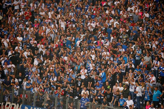 Soccer Football - Bundesliga - Hamburger SV v Borussia Moenchengladbach - Volksparkstadion, Hamburg, Germany - May 12, 2018 Hamburg fans applaud at the end of the match REUTERS/Morris Mac Matzen DFL RULES TO LIMIT THE ONLINE USAGE DURING MATCH TIME TO 15 PICTURES PER GAME. IMAGE SEQUENCES TO SIMULATE VIDEO IS NOT ALLOWED AT ANY TIME. FOR FURTHER QUERIES PLEASE CONTACT DFL DIRECTLY AT + 49 69 650050