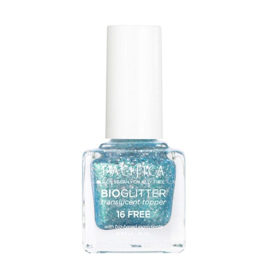 """When my nails aren't painted red, chances are I went with a cool blue shade. I'm obsessed with the 2000s vibes of this aqua shade, made with biodegradable glitter, that makes me feel like Lizzie McGuire. The shade makes me feel like I'm floating in a pool. <em>—B.C.</em> $10, Pacifica. <a href=""""https://shop-links.co/1745641537868244601"""" rel=""""nofollow noopener"""" target=""""_blank"""" data-ylk=""""slk:Get it now!"""" class=""""link rapid-noclick-resp"""">Get it now!</a>"""