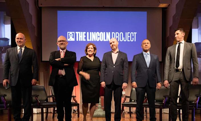 Lincoln Project co-founders Steve Schmidt, Rick Wilson, Jennifer Horn, Reed Galen, Mike Madrid and Ron Steslow at Cooper Union in New York City on Feb. 27, 2020.