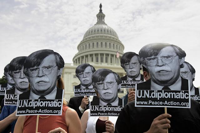 Activists gather on the west side of the US Capitol Building on Capitol Hill on June 7, 2005 in Washington, DC, to protest the nomination of John Bolton as US ambassador to the United Nations. (Photo: Brendan SmialowskiAFP/Getty Images)