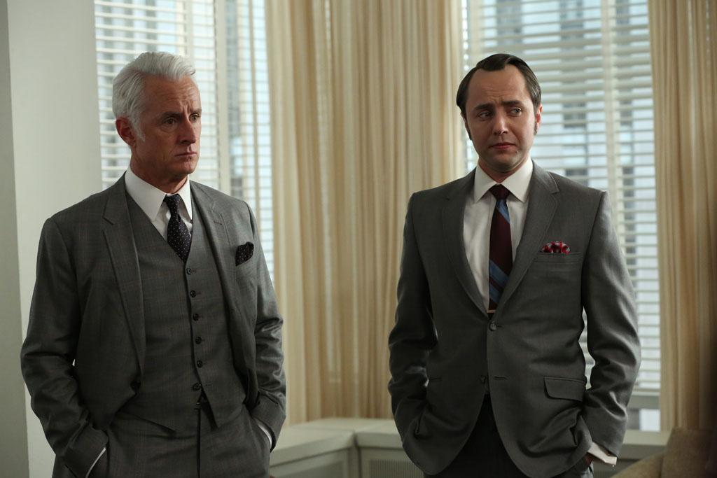 "Roger Sterling (John Slattery) and Pete Campbell (Vincent Kartheiser) in the ""Mad Men"" episode, ""A Tale of Two Cities."""
