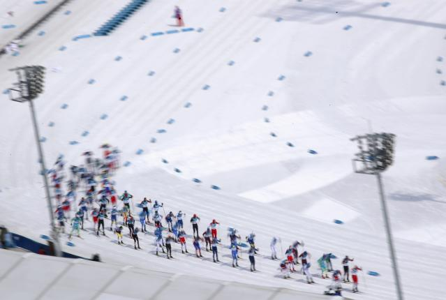 Cross-Country Skiing - Pyeongchang 2018 Winter Olympics - Men's 50km Mass Start Classic - Alpensia Cross-Country Skiing Centre - Pyeongchang, South Korea - February 24, 2018 - Competitors ski. REUTERS/Carlos Barria