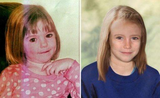 A combination of images shows a picture of missing British girl Madeleine McCann taken when she was three-years-old and a computer generated image released by the Metropolitan Police Service (MPS) on Wednesday showing how police believe she would look today, aged 9