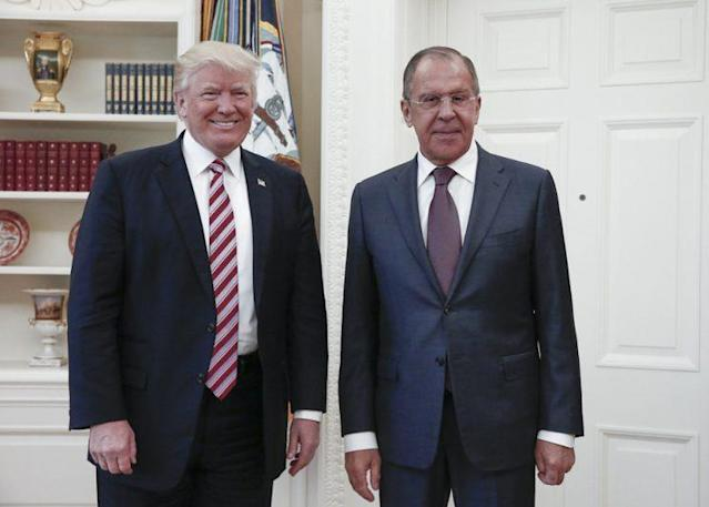 President Trump meets with Russian Foreign Minister Sergey Lavrov at the White House. (Russian Foreign Ministry Photo via AP)