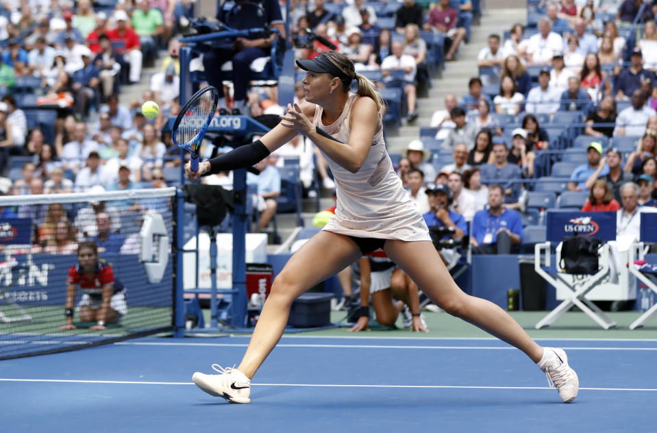 Sharapova moved better as the match went on and advanced to the third round of the US Open. (AP)