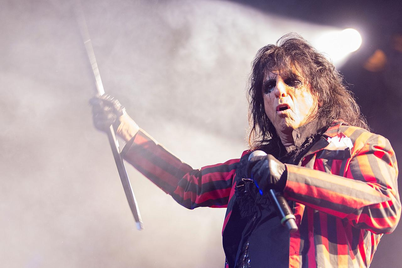 LOS ANGELES, CA - NOVEMBER 29:  Alice Cooper performs on stage at The Orpheum Theatre on November 29, 2012 in Los Angeles, California.  (Photo by Paul A. Hebert/Getty Images)