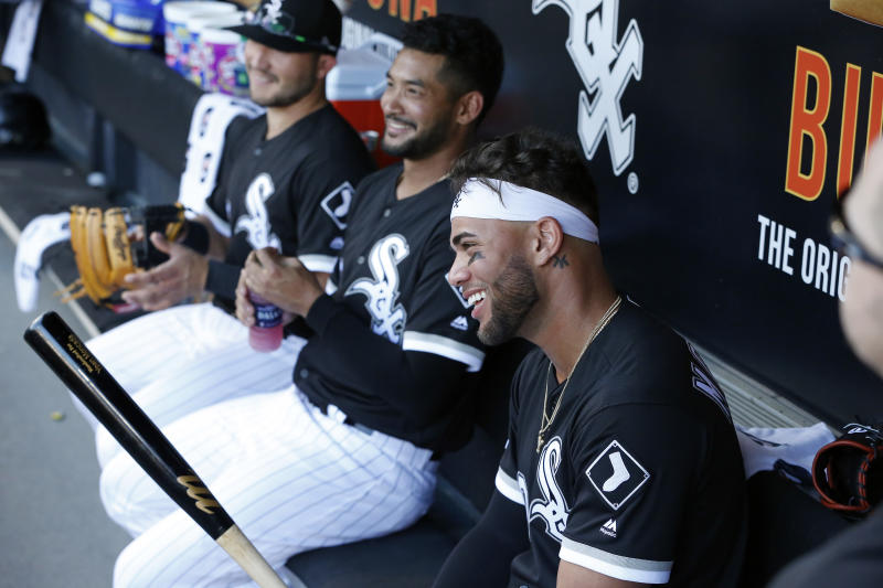 CHICAGO, ILLINOIS - JULY 27: Yolmer Sanchez #5, Jose Rondon #20, and Yoan Moncada #10 of the Chicago White Sox, prior to a game against the Minnesota Twins at Guaranteed Rate Field on July 27, 2019 in Chicago, Illinois. (Photo by Nuccio DiNuzzo/Getty Images)