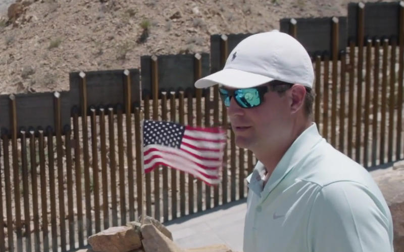 Brian Kolfage at the border wall in Sunland Park, NM. (Photo: Yahoo News Video)
