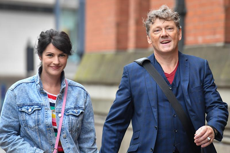 Emmerdale actor Mark Jordon and his partner Laura Norton arrive at Manchester Minshull Street Crown Court, where Jordon is charged with assault on a pensioner. (Photo by Jacob King/PA Images via Getty Images)