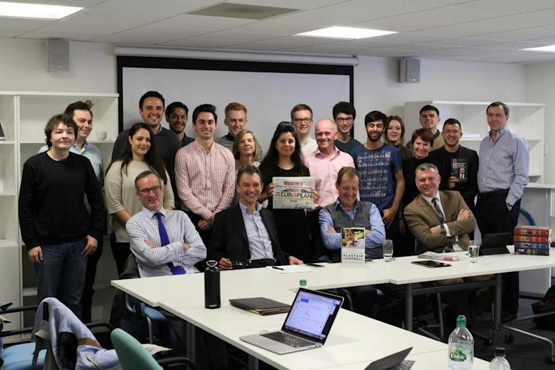 Alastair Campbell with the Blair Years class (and The New European and the fifth volume of his Diaries)