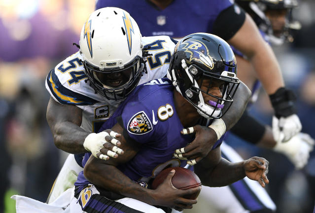 Melvin Ingram and the Chargers defense gave Lamar Jackson little room to operate on Sunday. (AP)