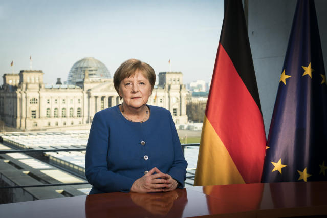 In this handout photo provided by the German Government Press Office , German Chancellor Angela Merkel addresses the nation via a video statement about the ongoing COVID-19 pandemic on March 18, 2020 in Berlin, Germany. Photo: Steffen Kugler/Bundesregierung via Getty Images