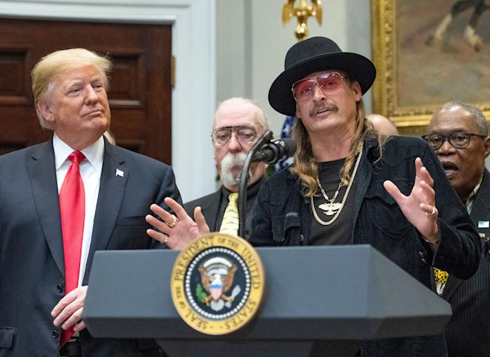 Kid Rock is one of Trump's few celebrity supportersRex Features
