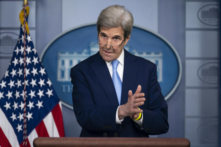 Special Presidential Envoy for Climate John Kerry speaks during a press briefing at the White House, Thursday, April 22, 2021, in Washington. (AP Photo/Evan Vucci)