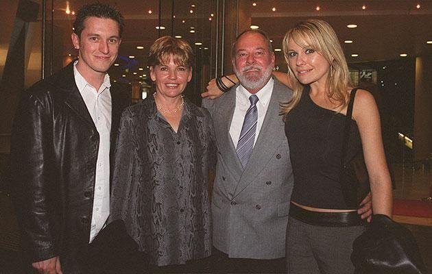 Rove and Belinda with her parents Laraine and Michael in 2001. Source: Getty