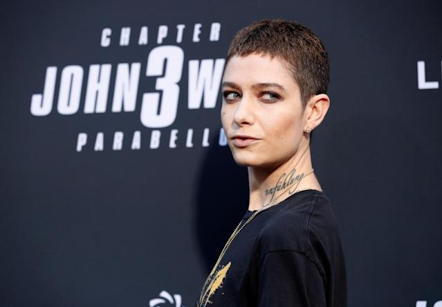 """Cast member Asia Kate Dillon arrives for a screening of the movie """"John Wick: Chapter 3 - Parabellum"""" in Los Angeles, California, U.S. May 15, 2019. REUTERS/Mario Anzuoni"""