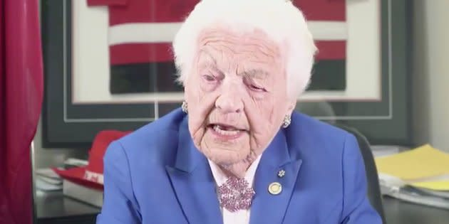 Former Mississauga mayor Hazel McCallion is shown in a video released by Ontario Progressive Conservatives on May 24, 2018.