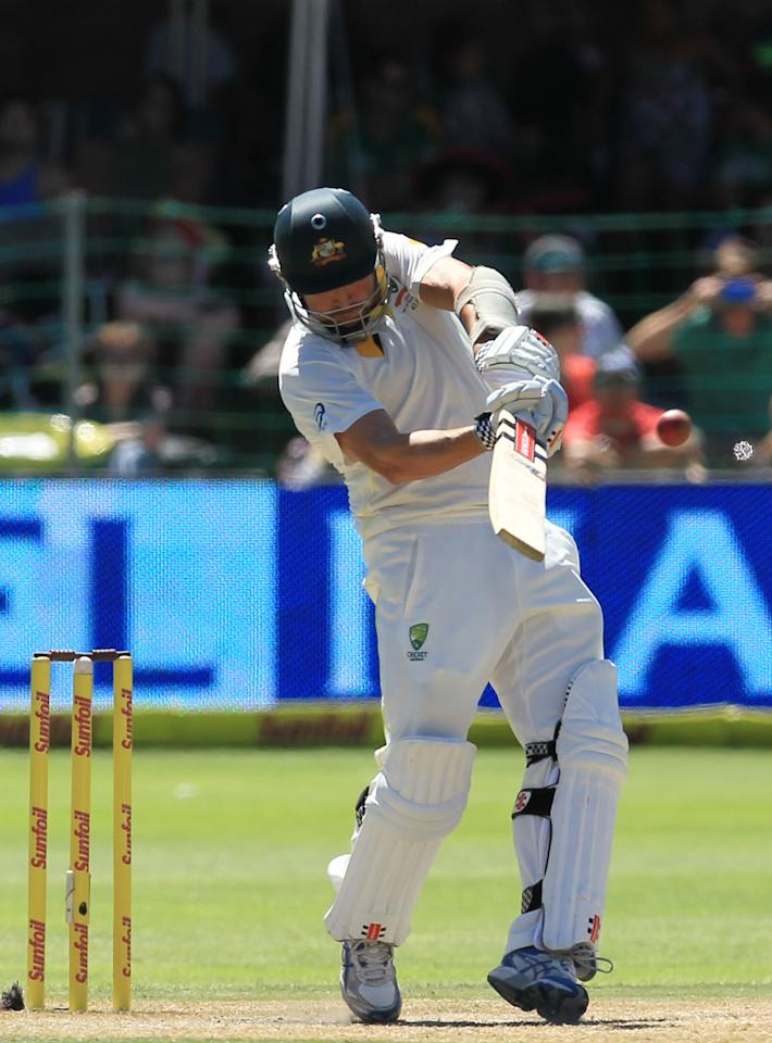 Australia's batsman Ryan Harris, plays a stroke shot on the third day of their 2nd cricket test match against South Africa, at St George's Park in Port Elizabeth, South Africa, Saturday, Feb. 22, 2014. (AP Photo/ Themba Hadebe)